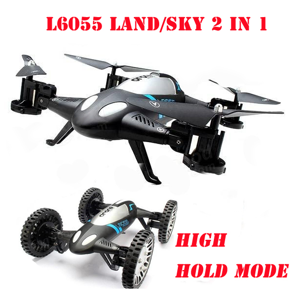 L6055 Land & Sky 2 in 1 High Hold Mode flying Car With 3D Flips RC Quadcopter Airphibian Flying Car RTF