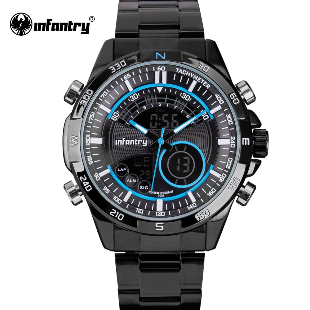 INFANTRY Luxury Brand Men Full Steel Analog Digital Sports Watches Army Military Quartz Watch Luminous Clock