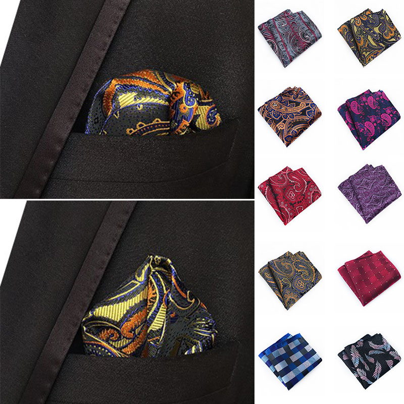 Fashion Luxury Mans Pocket Square Handkerchief  Silk Suit Jacquard Woven Hanky Paisley Design 25cm Wedding Party Handkerchief