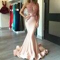 Coral Apliques Sirena Vestidos de Baile 2017 Ver A Través de Sexy Vestido de Fiesta vestidos de formatura partido importado vestido galajurken