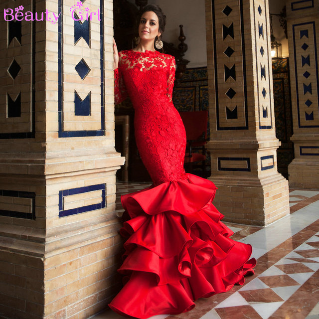 Red Evening Gowns with Sleeves