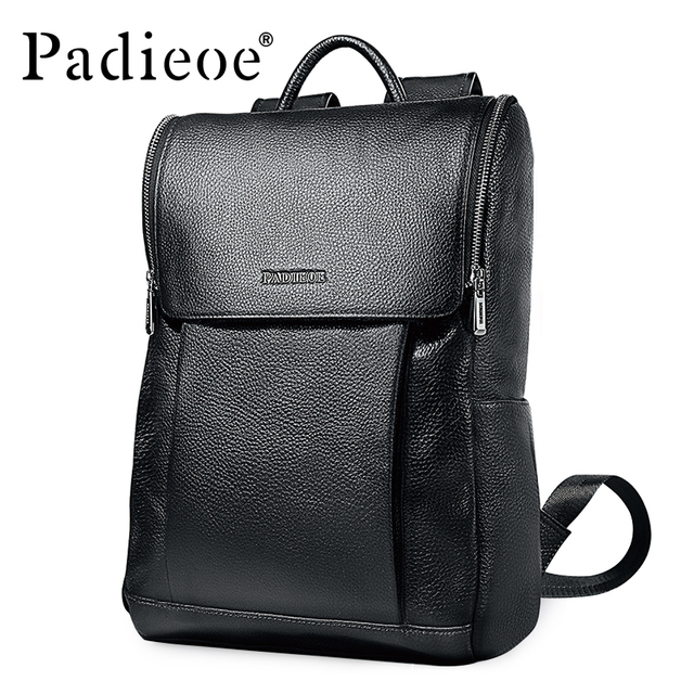 Padieoe 100% Genuine Leather Men Women Backpack Unisex Daypack High Quality  Solid Black Students School a867901a2ebad
