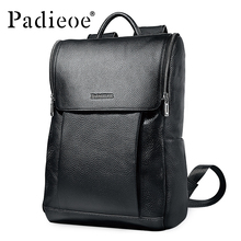 Padieoe 2017 New Arrical 100% Genuine Leather Men Women Backpack Daypack High Quality Solid Black Students School Bag Backpacks