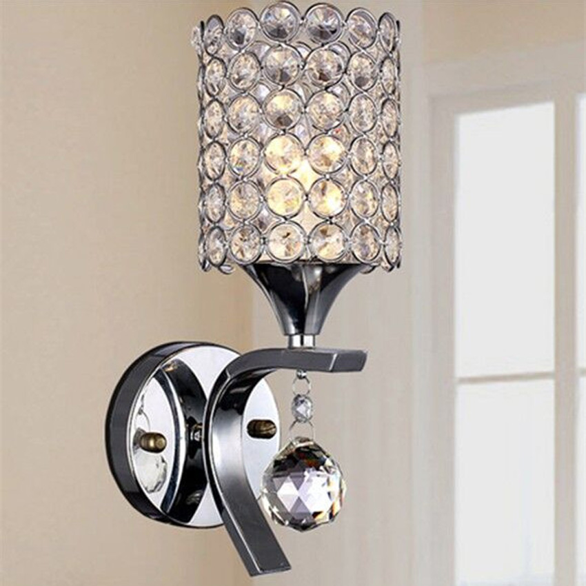 Modern Luster Silver LED Crystal Wall Lamp dia 10cm iron&Crystal Lampshade Wall Light for bedroom bedside aisle lighting fixture e14 black crystal wall lamp light black silk fabric lampshade crystal wall lighting creatie crystal wall lamp study lamp