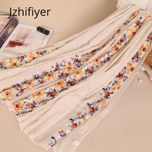 Embroidery scarf viscose linen muslim hijabs sjaal head cover bandana arab ladies cape bufanda islamic shawl factory