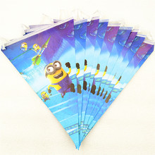 1 Set Cartoon Minions Party Supplies Flags Banners Theme Home Decorations For Kids Happy Birthday Baby Shower Favors
