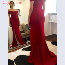 Off the shoulder sexy red evening dress sweetheart neckline side slit satin bridal party dresses