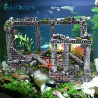 Artificial Ancient Roman Column Ruins European Castle Ornament For Aquarium Decorations