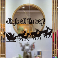 Jingle All The Way With Horse Deer Vinyl Wall Sticker Shop Window Glass Door Christmas Decoration