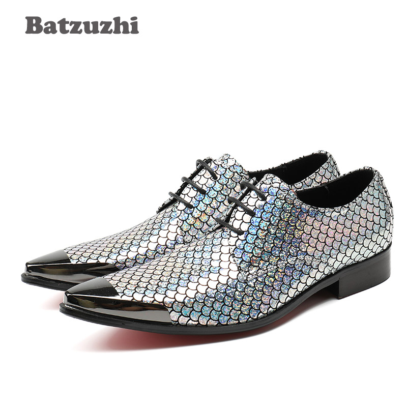 Batzuzhi Luxury Men Dress Shoes Pointed Toe Metal Cap Lace-up Sequins Men Business Leather Shoes Party&Wedding Man Shoes Zapatos