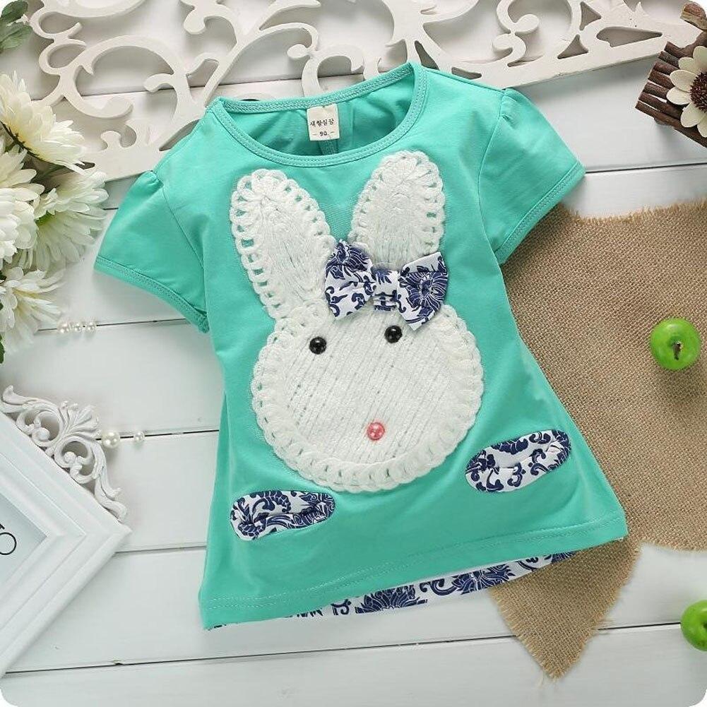 2 шт. костюм детская одежда для девочек Обувь для мальчиков малышей милый кролик Топ + укороченные штаны Комплект одежды Z255 M09