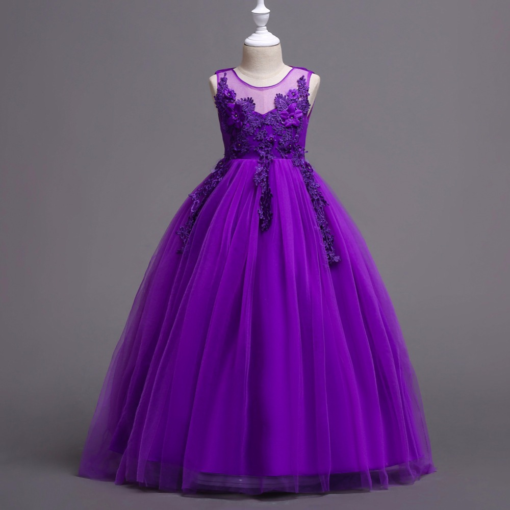 New 2019 Purple Tulle A Line   Flower     Girl     Dresses   Chic Lace Appliques Floor Length Sleeveless Little   Girls   Wedding Party Gowns