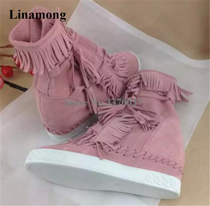 High Quality Women Fashion Round Toe Suede Leather Fringed Platform Wedge Short Boots Tassels Height Increasing