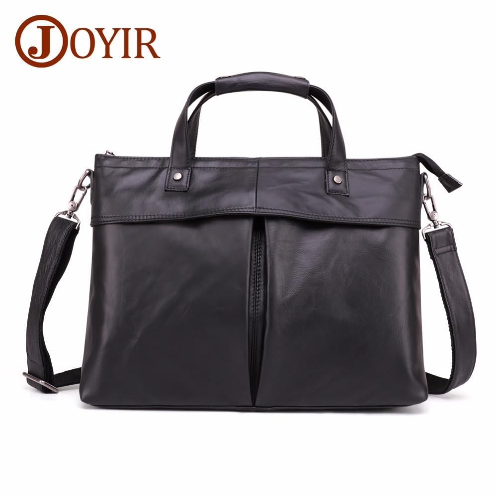 JOYIR Genuine Leather Briefcase Men Bag Business Handbag Male 15.6