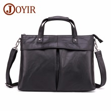 JOYIR Genuine Leather Briefcase Men Bag Business Handbag Male 15.6
