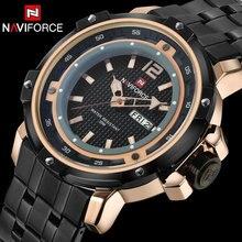 Naviforce deporte de los hombres relojes de lujo marca cuarzo de los hombres reloj de pulsera banda de acero caliente para los hombres 30 m impermeable relogio masculino