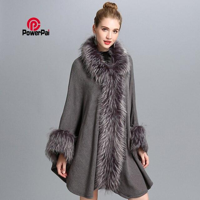 Inverno Novas Mulheres Da Moda Longo Casaco De Pele De Guaxinim Manto Solto Generoso Cashmere Cape Shawl Cardigan Pele Camisola