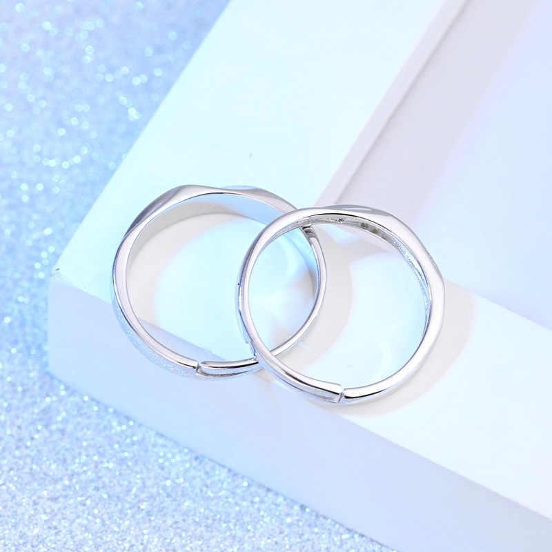 Moda tanie para pierścień srebrny kolor 2 sztuk regulowany Rhinestone pierścionki damskie + męskie pierścień ślub zakochanych pierścionki biżuteria