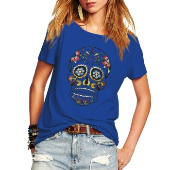 Floral Skull Print Junior Tops 1