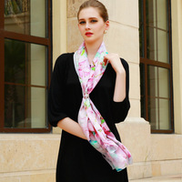 2017 Boutique Digital Printing 100 Pure Silk Screen Flower Long Scarf Shawl Scarves Made Of Super