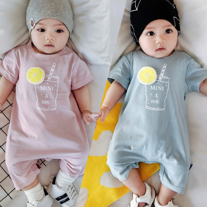 Lemonmiyu Summer Short Pajamas Short Sleeve O-Neck Print Baby Jumpsuit Newborn Juice Cotton Bodysuit Infants Soft One-Piece cami satin two piece summer pajamas