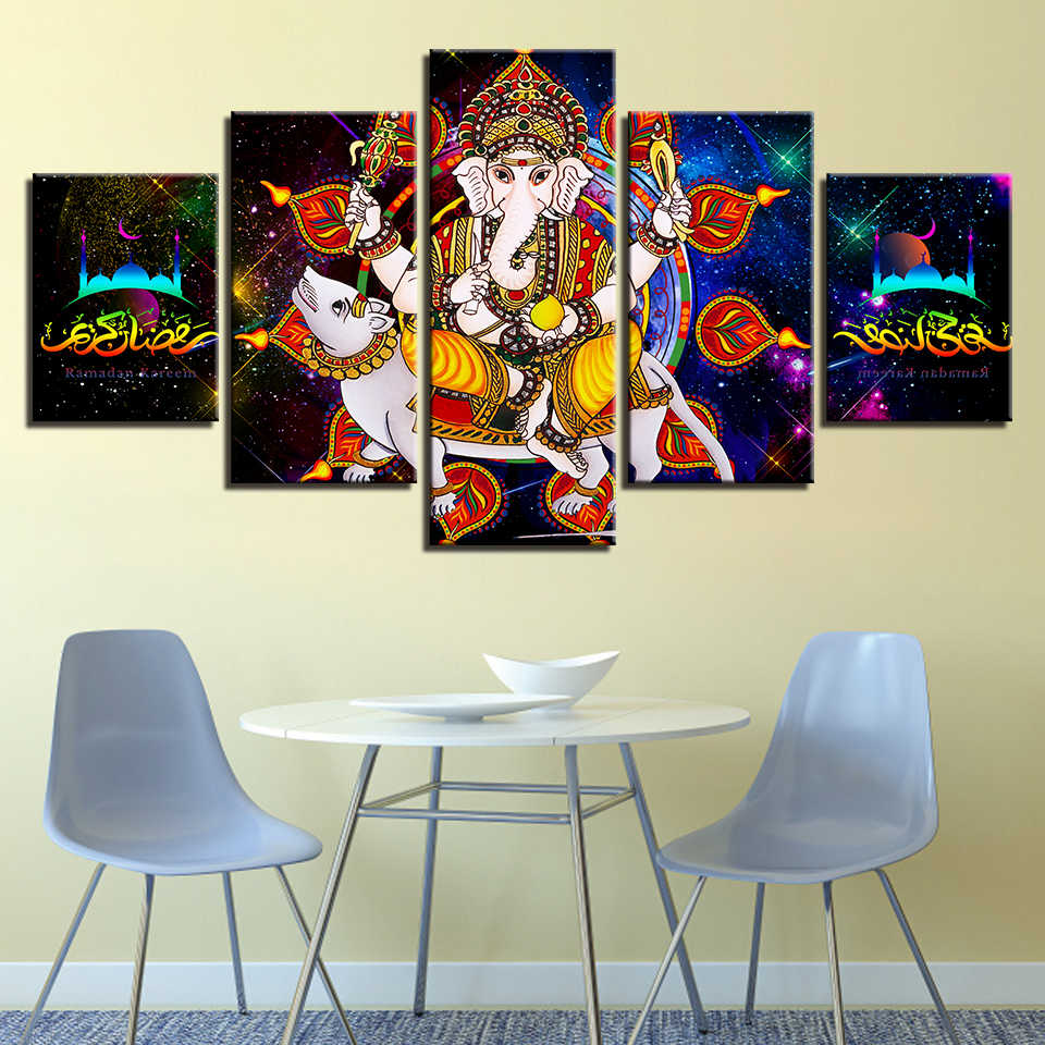 Слон цветочный орнамент арт//холст печать домашний декор плакат стена искусства