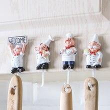 Ganchos de toalha para parede, ganchos de chef de desenhos animados criativos em forma de chef, porta, casaco, cabide, cozinha, banheiro, decoração