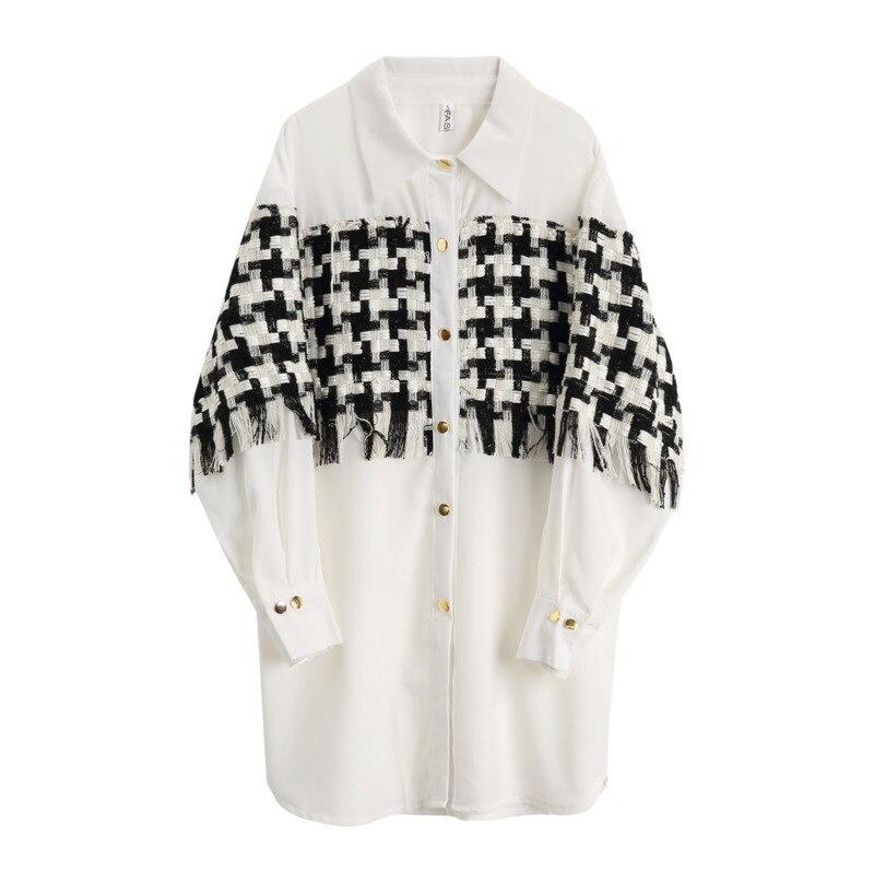 HTB1zTzCX5LrK1Rjy1zdq6ynnpXaJ - [EAM] 2019 New SpringWinter Patchwork Tassel Turn-down Collar Full Sleeve Plaid Vintage Shirt Dress Women Fashion Tide OB465