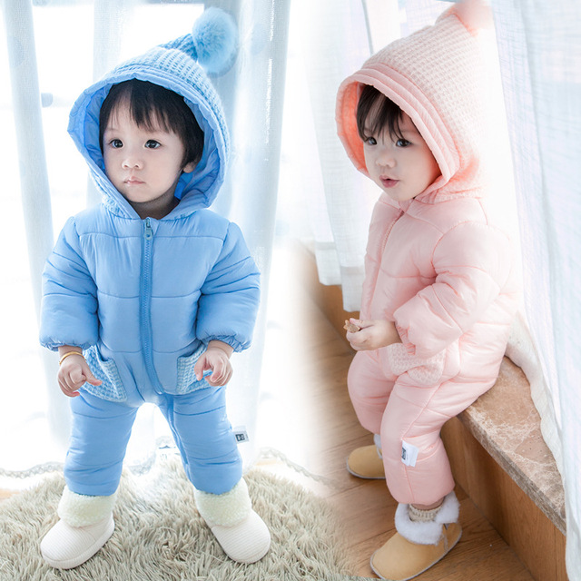 Romper do bebê recém-nascido meninas e meninos roupas de Inverno estilo Coreano Macacão de Bebê bebes Outerwear Casaco Infantil Roupa Da Menina À Prova D' Água