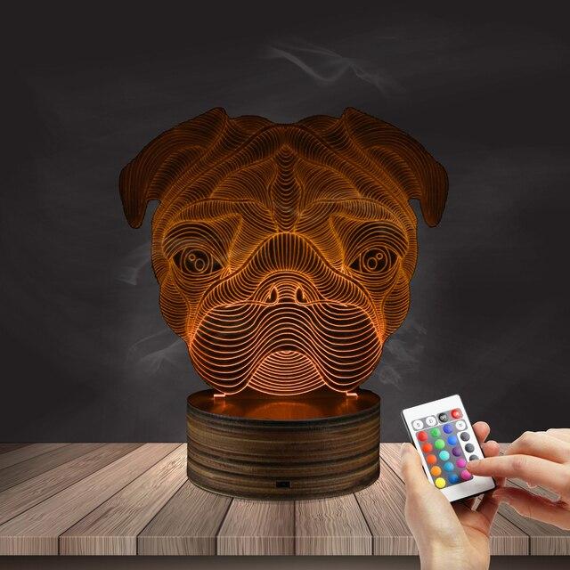 1Piece Lovely 3D Pug Shape Lamp LED Night Lights 7 Color Desk Lamp Creative  Dog 3D