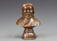 wholesale factory China Classical BRASS Copper Yuan Dynasty Empire Kublai Khan Bust Statue