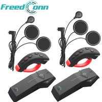 2 piezas FreedConn 1000m casco de motocicleta Bluetooth intercomunicador Moto auriculares NFC FM + mando a distancia + auriculares suaves