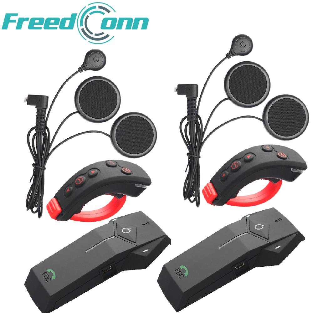 2 pcs FreedConn 1000m Motosikal Helmet Bluetooth Intercom Moto Headset NFC FM + Alat Kawalan Jauh + Earphone Lembut