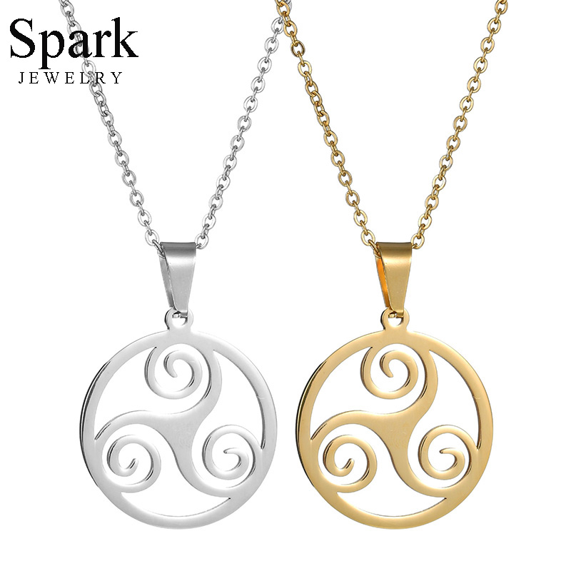 Spark Hollow Teen Wolf Triskele Necklace Punk Stainless Steel Triskelion Statement Necklaces For Movie Fans Party Gift Colliers image