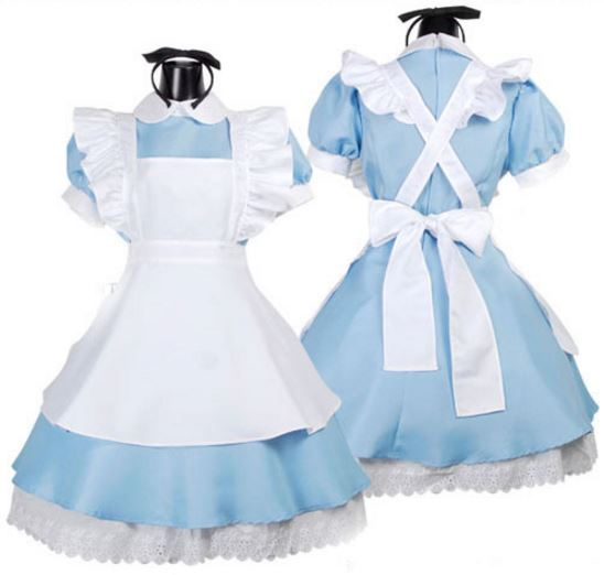 aa3c37e9cea72 Starlist woman Cosplay Alice in Wonderland Blue Dress cute Lolita maid  apron Pink Dress Lace up Bow Big swing Dress Party