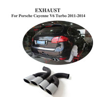 2PCS/Set Stainless Steel Rear Muffler Exhaust Tips End Pipe Fit for Porsche Cayenne V6 Turbo 2011 2014