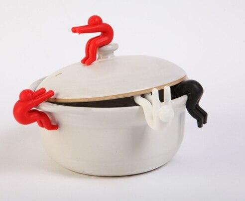 1pc multifunzionale cibo grado di sicurezza in silicone pentola di zuppa di coperchio anti-trabocco rilievo ascensore cremagliera piccolo mini piccolo uomo strumento gadget