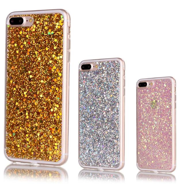 Per Apple iPhone 7 Custodia In Silicone Trasparente Copertura trasparente iPhone 7 più Caso Gitter Bling Tpu Della Copertura Posteriore Per il iphone 7 s più