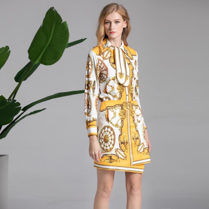High quality 2019 spring fashion Suit sets Women s Long Sleeve Beaded Shirt Pattern Print Mini
