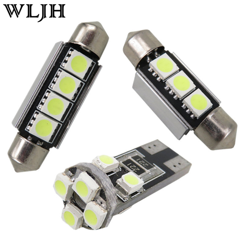 WLJH 13pcs White Canbus Lamp Dome Vanity Mirror Puddle Light Bulb For Volkswagen VW Passat B5 Interior LED light Kit 1998-2005 for volkswagen passat b6 b7 b8 led interior boot trunk luggage compartment light bulb