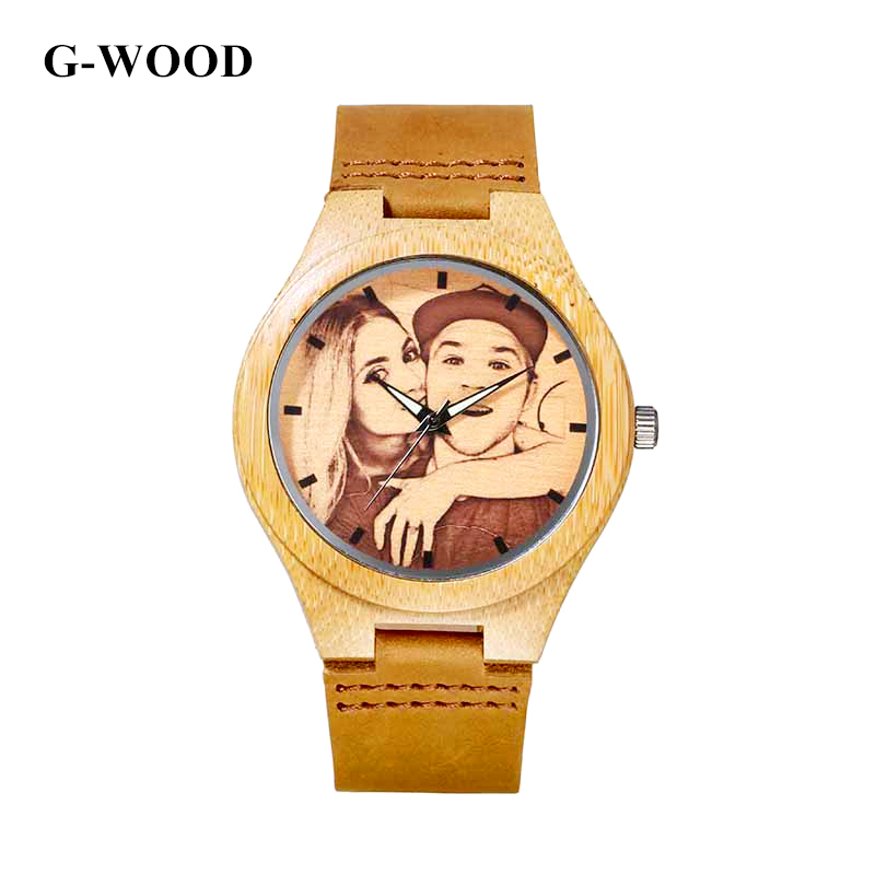G-WOOD Custom Photo Couple's Wooden Watches 2018 Unisex Wood Bracelet - Балалардың сағаттары - фото 2