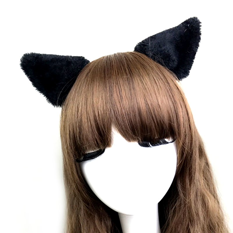 Cat Ears Hair Clip Hairpin Women Girl Cosplay Costume Accessories Black