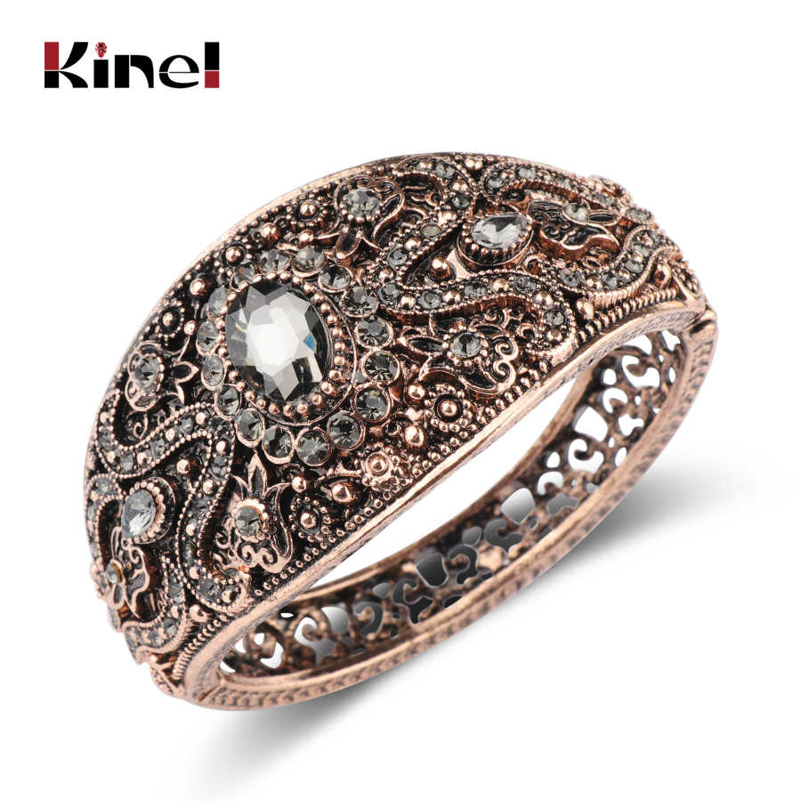 Kienl Vintage Gray Crystal Bracelets For Women Antique Gold Turkish Charm Width Cuff Bangle Bracelets Fashion Bohemia Jewelry