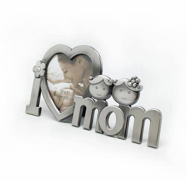 1pc Lovely Photo Frame Gift Souvenir Heart Shaped I Love Mom Metal
