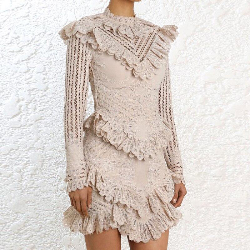 MENKAY Lace Hollow Out Ruffles Spliced ZIM Dress 2018 Autumn New