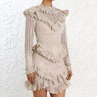 [MENKAY] Lace Hollow Out Ruffles Spliced ZIM Dress 2018 Autumn New