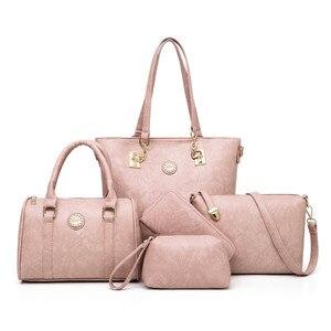 Image 5 - 여성 어머니 가방 5 조각 세트 럭셔리 핸드백 여성 가방 디자이너 가죽 어깨 가방 지갑과 핸드백 기울어 진 가방