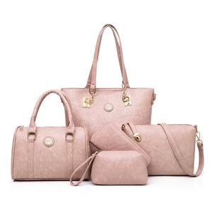 Image 5 - Weibliche Mutter Tasche 5 Stück Set Luxus Handtaschen Frauen Taschen Designer Leder Schulter Tasche Geldbörsen und Handtaschen Schräg Tasche