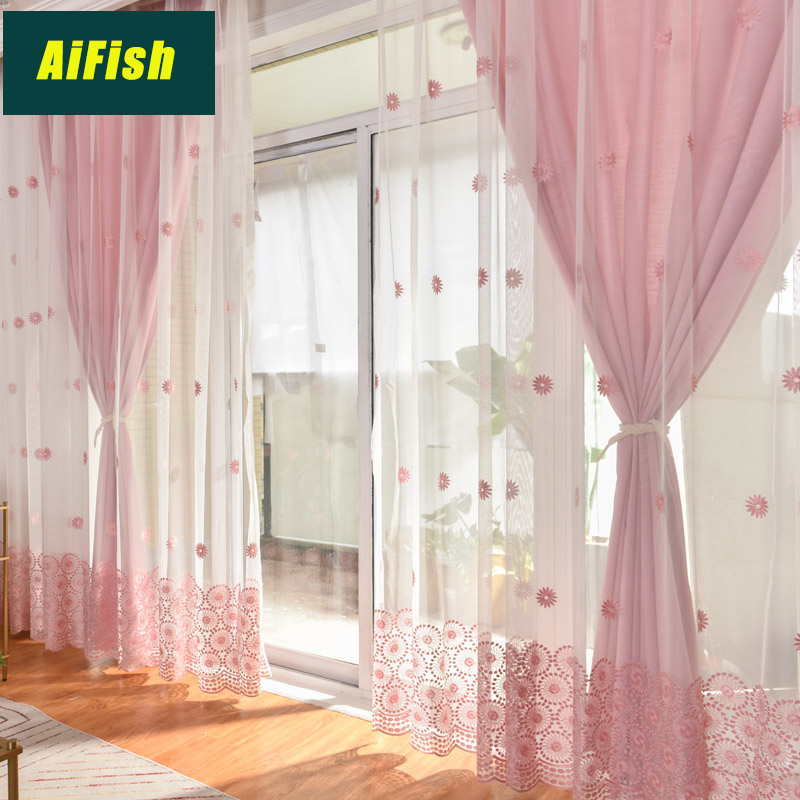 Embroidered Pink Flower Lace sheer Curtains For Living Room Blue Cloth fabric Bedroom Curtains tulle set Window decor wp069&3