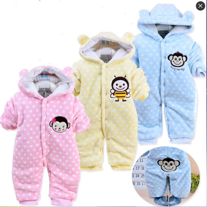 Newborn 2016 Autumn/Winter Baby Rompers baby girl clothes Hooded Romper Flannel Baby Jumpsuit baby Boy Clothing newborn baby rompers baby clothing 100% cotton infant jumpsuit ropa bebe long sleeve girl boys rompers costumes baby romper